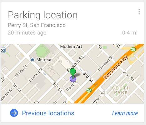 Google now – parking location отвечает за парковку
