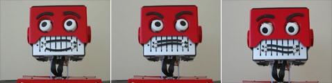 Красный робот корчит квадратные рожи