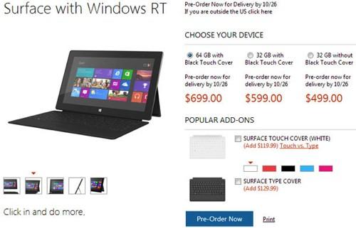 Названы цены и комплектации планшетов microsoft surface. официально