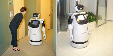 Робот-слуга возит вещи на тележке, а людей на лифте