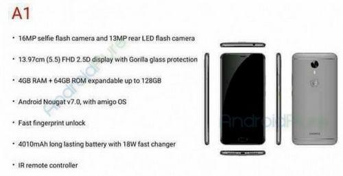 Смартфон gionee a1 получит 16мп селфи-камеру со вспышкой