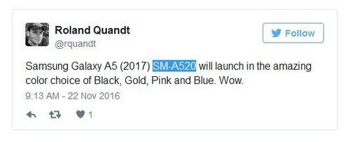 Смартфон samsung galaxy a5 (2017) выйдет в четырех расцветках