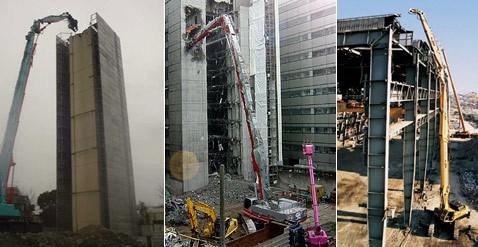 Сносит крышу: машина одной рукой уничтожает здания на высоте 65 метров