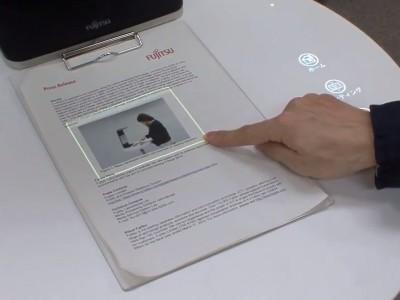В fujitsu laboratories разработали аналог сенсорной системы, состоящий из веб-камеры и проектора